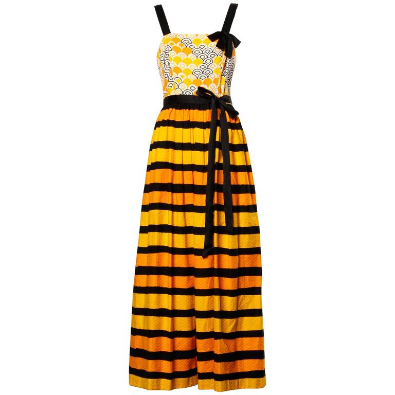 1970s Larry Aldrich Vintage Yellow Orange + Black Striped Print Maxi Dress  1