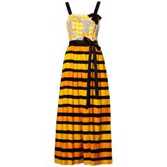 1970s Larry Aldrich Vintage Yellow Orange + Black Striped Print Maxi Dress