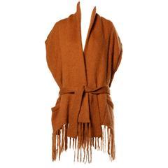 Kenzo Vintage Avant Garde Fringe Trim Knit Cocoon Jacket, 1980s