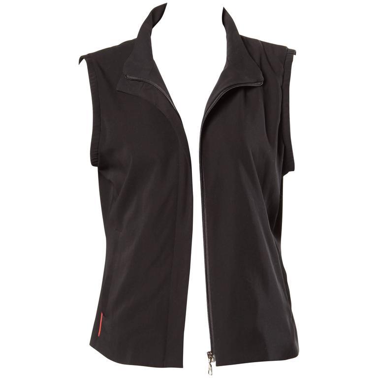 Prada Vintage 90s Sporty Zip Up Vest Jacket or Waistcoat
