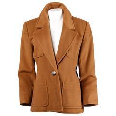 Yves Saint Laurent Rive Gauche Vintage Camel Wool Blazer Jacket