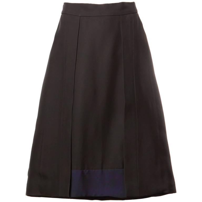 Prada Black + Navy Blue Color Block A-Line Skirt in a size 42