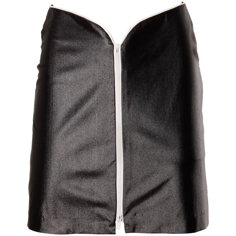 1970s Le Gambi Vintage Shiny Wet Look Spandex Disco Pants Fabric Zip Up Skirt 1