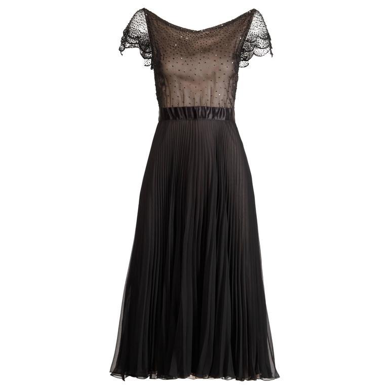 Oscar de la Renta Vintage Black Silk Beaded Dress with Pleated Skirt For Sale