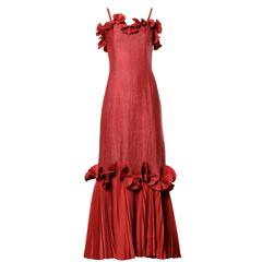 Jean Varon Vintage Pleated Origami Ruffle Gown or Dress