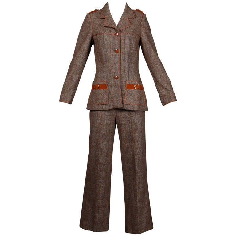 1970s Lilli Ann Vintage Wool Tweed + Suede Leather Pants + Jacket Suit Ensemble