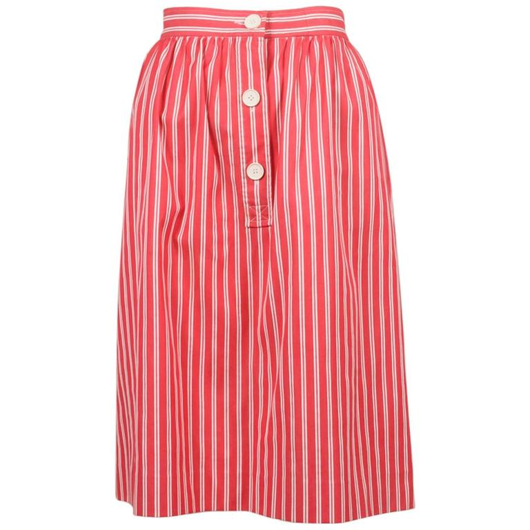 Vintage Saint Laurent Red White Twill Knit Pinstripe Pleated Skirt SZ 42 1