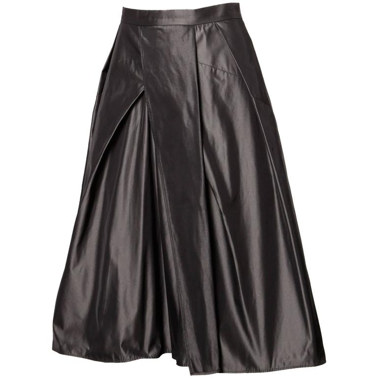 Max Mara Gunmetal Silk Asymmetric Pleated A-Line Skirt