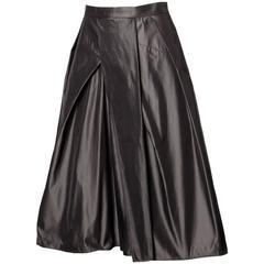 Max Mara Gunmetal Silk Asymmetric Pleated A-Line Skirt