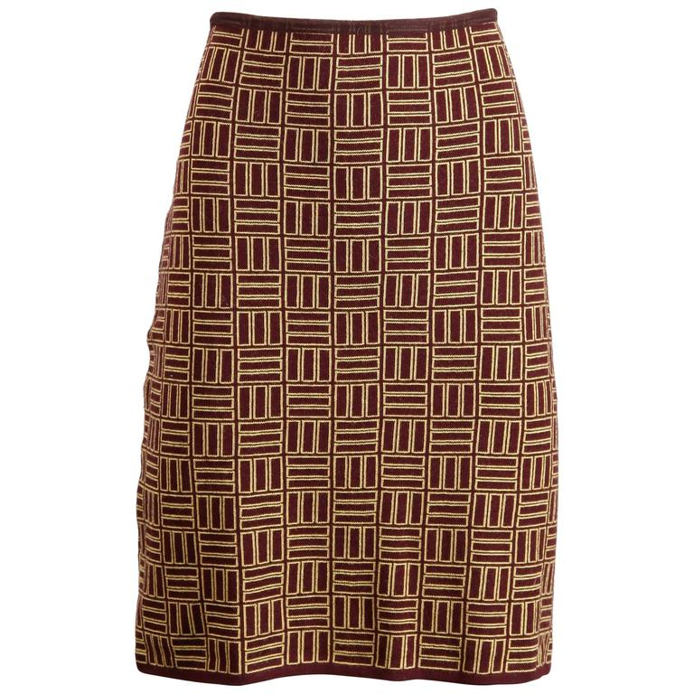 Alessandro Dell'Acqua Vintage Geometric Merino Wool Knit Skirt For Sale