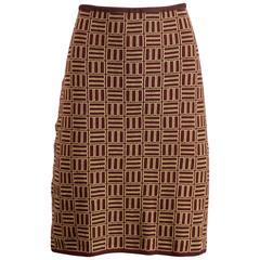 Alessandro Dell'Acqua Vintage Geometric Merino Wool Knit Skirt