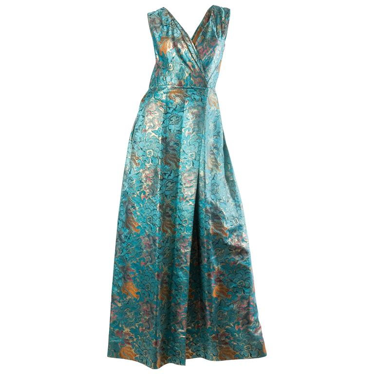 Reversible Gown Made from Chinese Silk For Sale