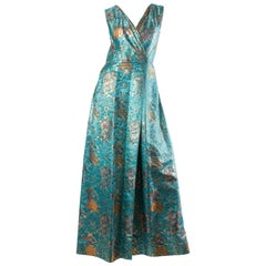 MORPHEW COLLECTION Teal & Gold Asian Dragon And Phoenix Jacquard Reversible Gow