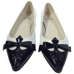 Stuart Weitzman White Patent Flats with Black Toes