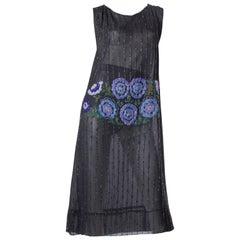 1920S Black Silk Chiffon Flapper Dress With Blue & Green Floral Beadwork