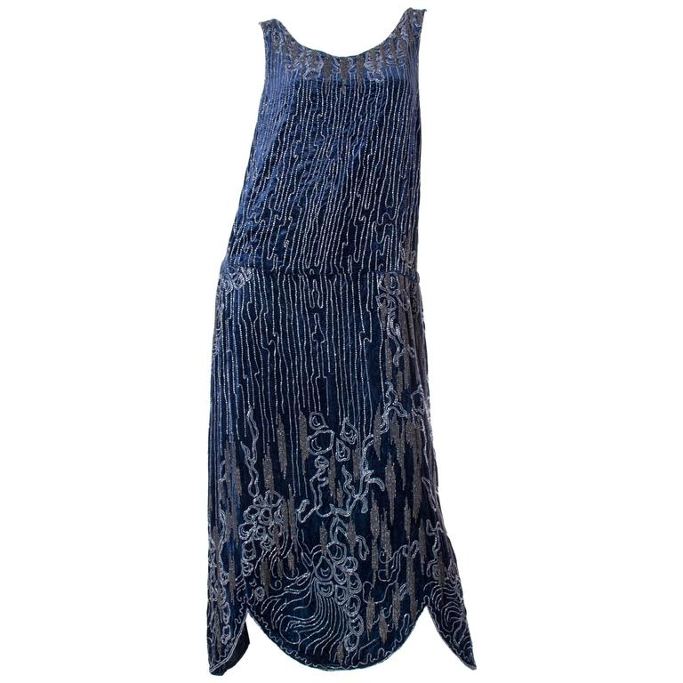 1920s Silk Velvet Dress Beaded with Erté Stylized Wisteria  1