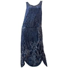 1920s Silk Velvet Dress Beaded with Erté Stylized Wisteria