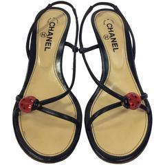 Chanel Black Strapped Slingback Heels with Ladybug