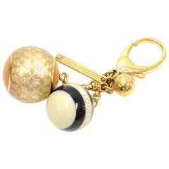Louis Vuitton Black Mini Lin Ball Charm Gold Tone Key Chain / Holder