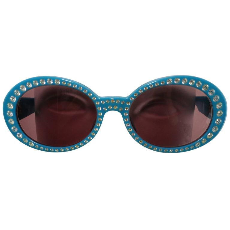 Chanel Eyeglass Frames With Rhinestones : Chanel Turquoise Rhinestones Oval Frames Sunglasses at 1stdibs