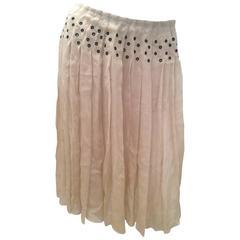Prada Beige Silk Sheer Skirt - Size 40