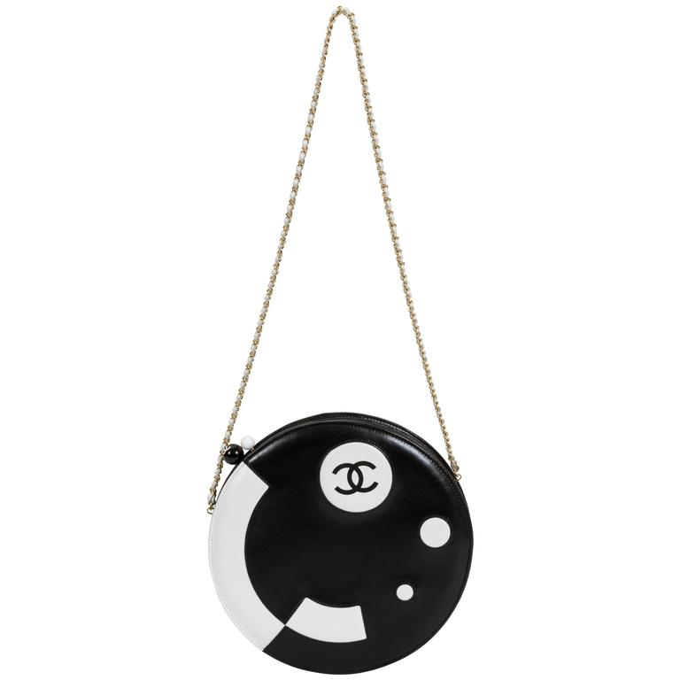Chanel Black and White Rare Round Chain Bag