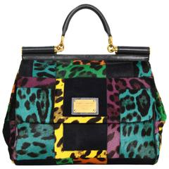 Dolce & Gabbana Sicily Leopard Print Pony-hair Patchwork Bag with Strap GHW