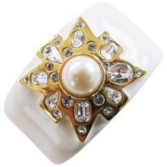 Kenneth Jay Lane White and Gold Maltese Cross Cuff Bracelet