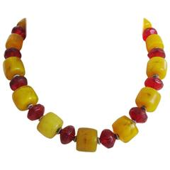 Masha Archer Granada Series Yellow and Red Wreath Necklace