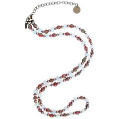 Masha Archer White Opalite and Red Millefiore Beaded Necklace