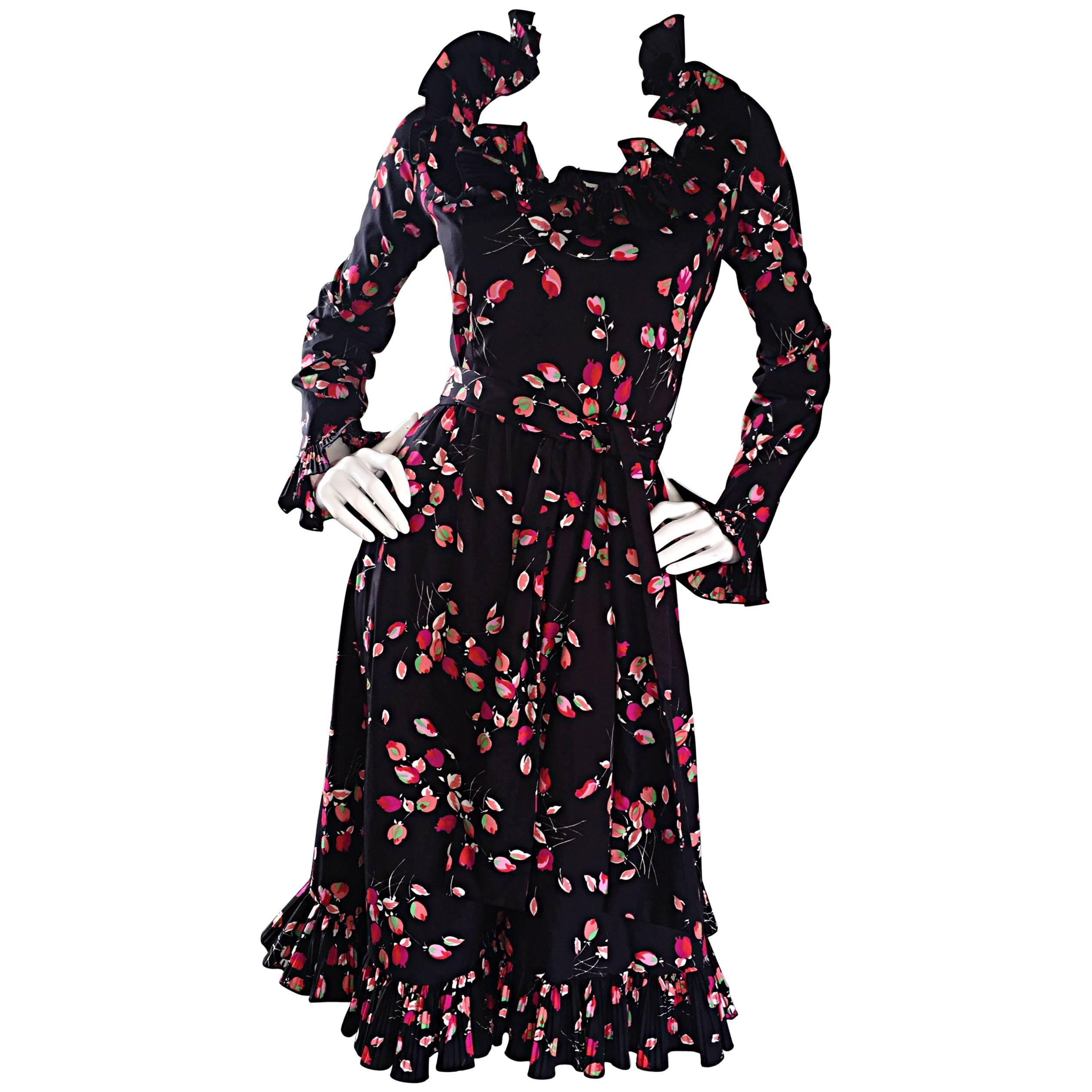 Vintage Victor Costa 1970s Black Tulip Print 70s Taffeta Belted Ruffle Dress