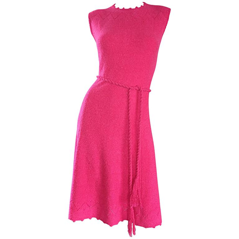 1960s St. John Hot Pink Crochet Knit A - Line 60s Vintage Dress w/ Tassel Belt For Sale