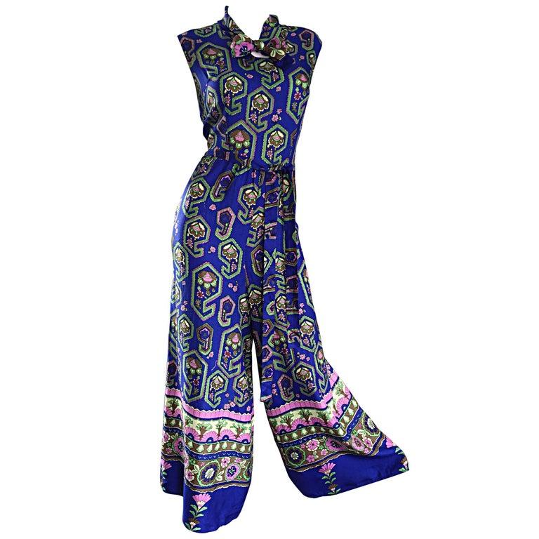 Fantastic 1970s Vintage Blue Geometric Paisley Wide Leg Palazzo Pant Jumpsuit For Sale