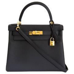 Brand New Hermes Kelly Black Togo Retourne 28 GHW + Strap