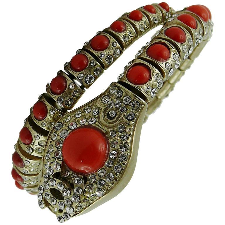 Chanel Jewelled Articulated Snake Bracelet  For Sale