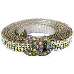 """Chanel Multicolored Tutti Fruitti Crystal CC 32"""" Thin Belt w/ Box & Dustbag"""