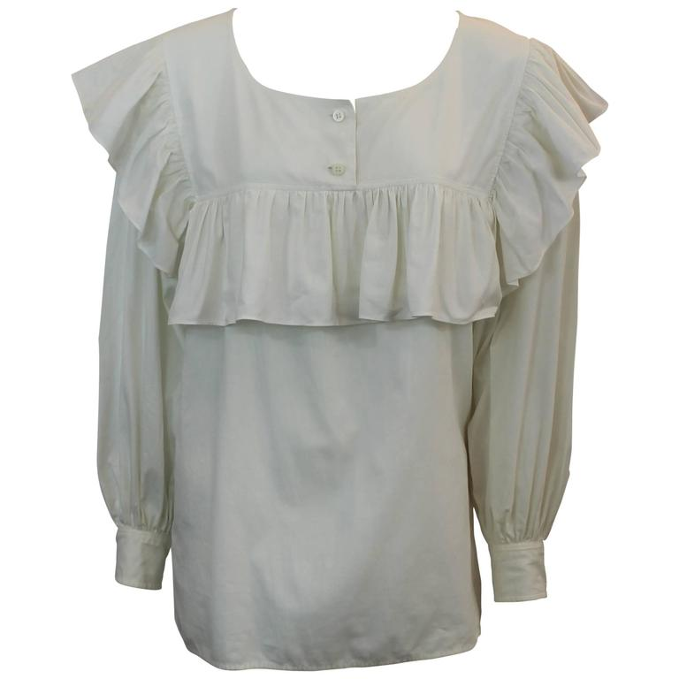Yves Saint Laurent Off White Cotton Peasant Top - M - 1960's For Sale