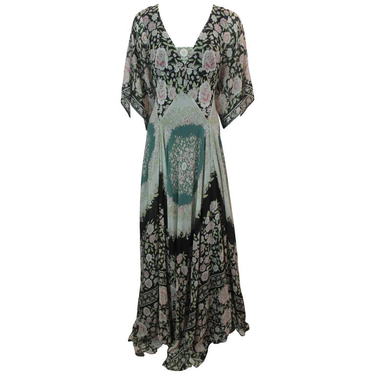 Etro Multi-Color Printed Silk Chiffon Peasant Style Gown - 44 1