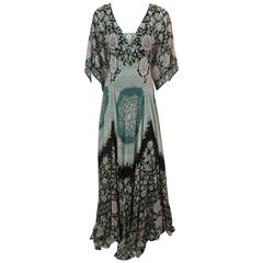 Etro Multi-Color Printed Silk Chiffon Peasant Style Gown - 44
