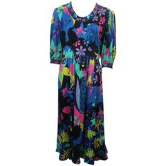 Averardo Bessi Vintage Multi-Colored Floral Dress - 12 - circa 1960's-1970's