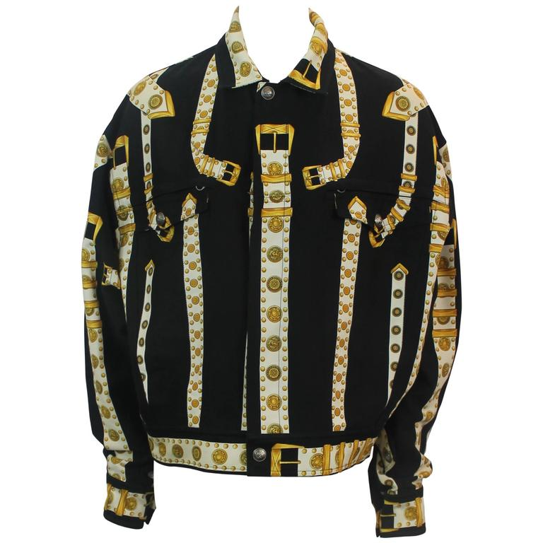 Versace Vintage Black/White/Gold Cotton Blend Studded Belt Print Jacket - 48 For Sale