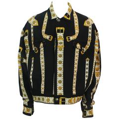 Versace Vintage Black/White/Gold Cotton Blend Studded Belt Print Jacket - 48