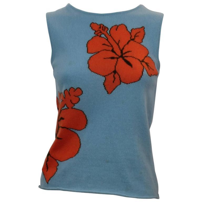 Lucien Pellat-Finet Sleeveless Blue Tropical Print Cashmere Top - S 1