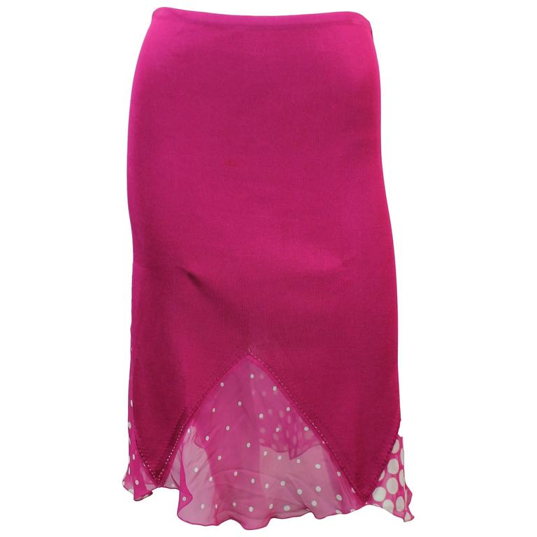 Christian Lacroix Vintage Magenta Knitted Skirt - 4 - 1990's