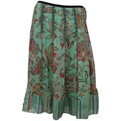 Etro Seafoam Silk Chiffon Paisley Print Skirt with Striped Silk Bottom - 42