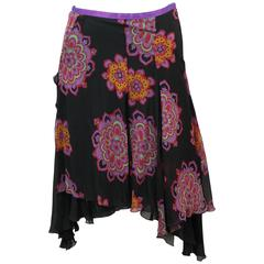Etro Black and Multi-Colored Silk Chiffon Paisley Print Asymmetrical Skirt - 38