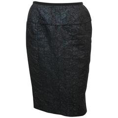 Nina Ricci Dark Navy Linen with Metallic Sheen Blend Brocade Skirt - 40