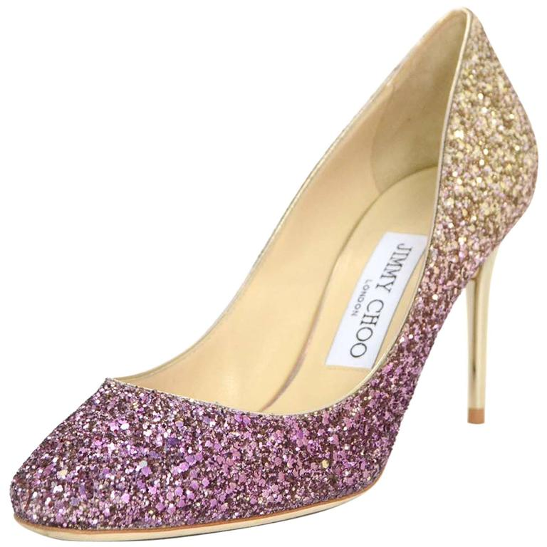 a49d4d710bd1 Jimmy Choo Esme Gold and Pink Ombre Glitter Pumps Sz 36 For Sale at ...