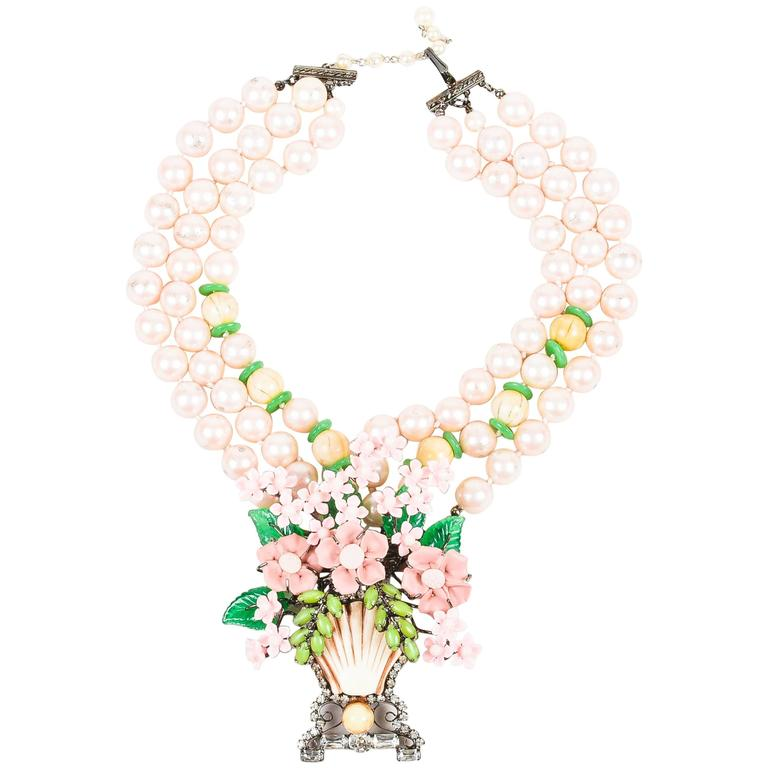 Lawrence VRBA Pink/Green Faux Pearl Flower Basket Large Pendant Necklace 1