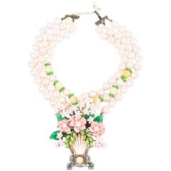 Lawrence VRBA Pink/Green Faux Pearl Flower Basket Large Pendant Necklace
